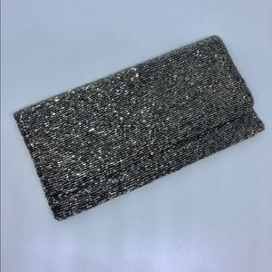 Moyna beaded clutch in pewter